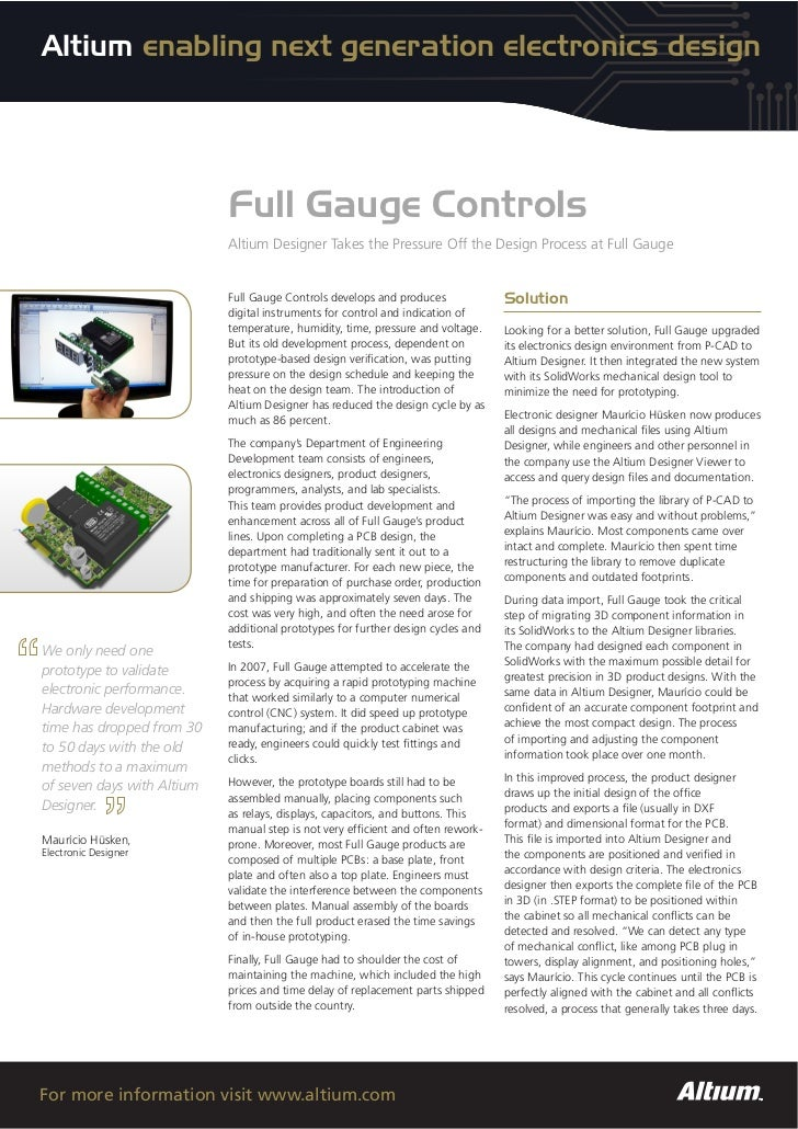 Altium enabling next generation electronics design                            Full Gauge Controls                         ...