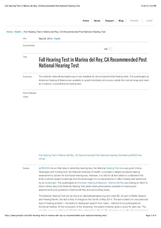 6/9/14 2:24 PMFull Hearing Test in Marina del Rey, CA Recommended Post National Hearing Test Page 1 of 4http://www.prreach...