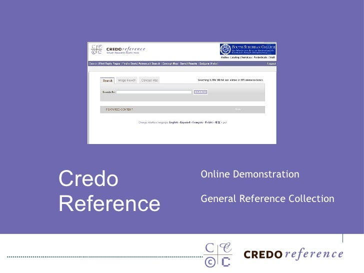 Credo  Reference Online Demonstration General Reference Collection