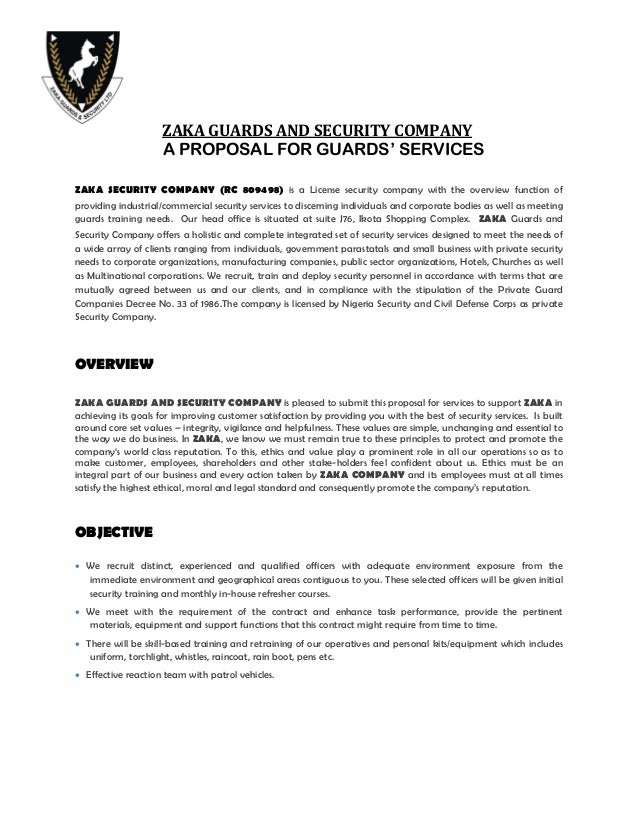 gallery of security guard contract proposal. Black Bedroom Furniture Sets. Home Design Ideas