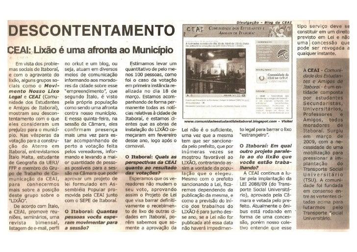 Entrevista para o Jornal O Itaboraí.