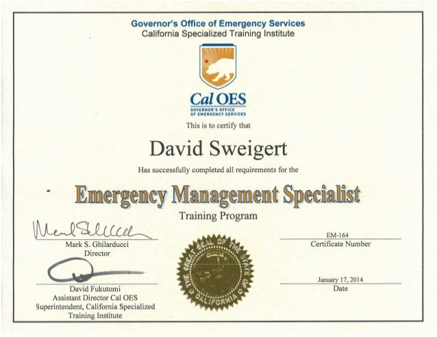 governors office of emergency services california specialized training institute cal oes governoits office 0f emergencv