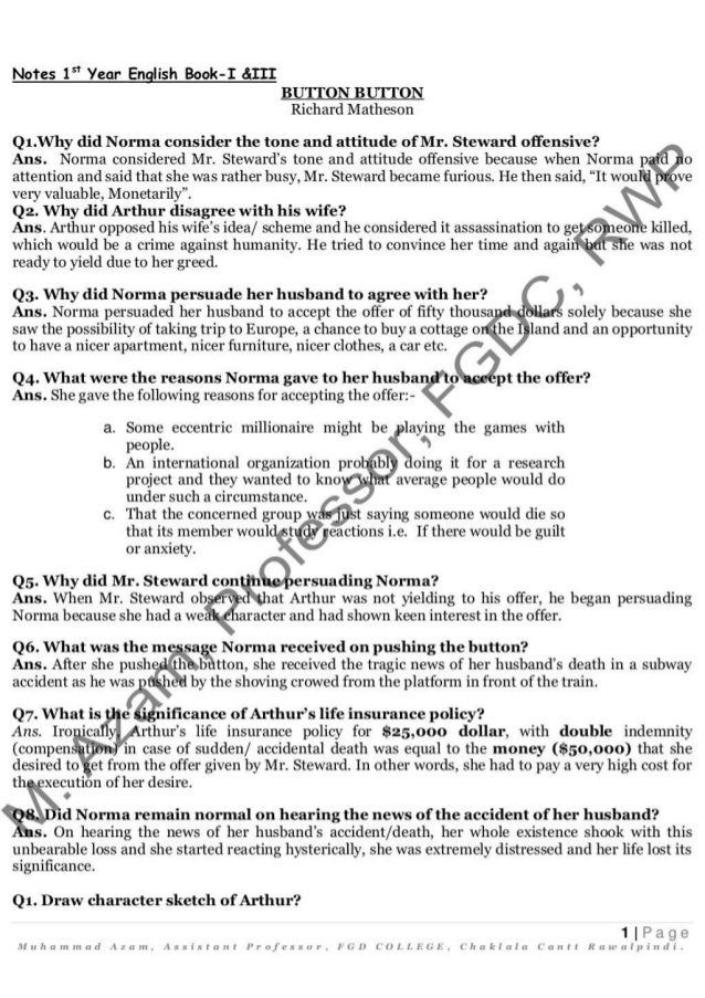1st) first year HSSC I part 1 English Notes( short question answers…