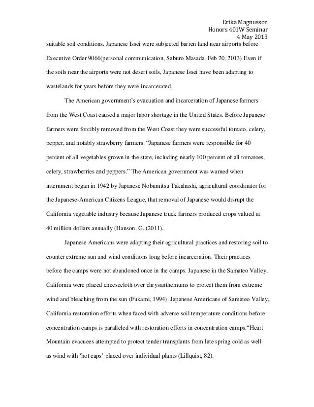 ese american internment camp soils research paper  45