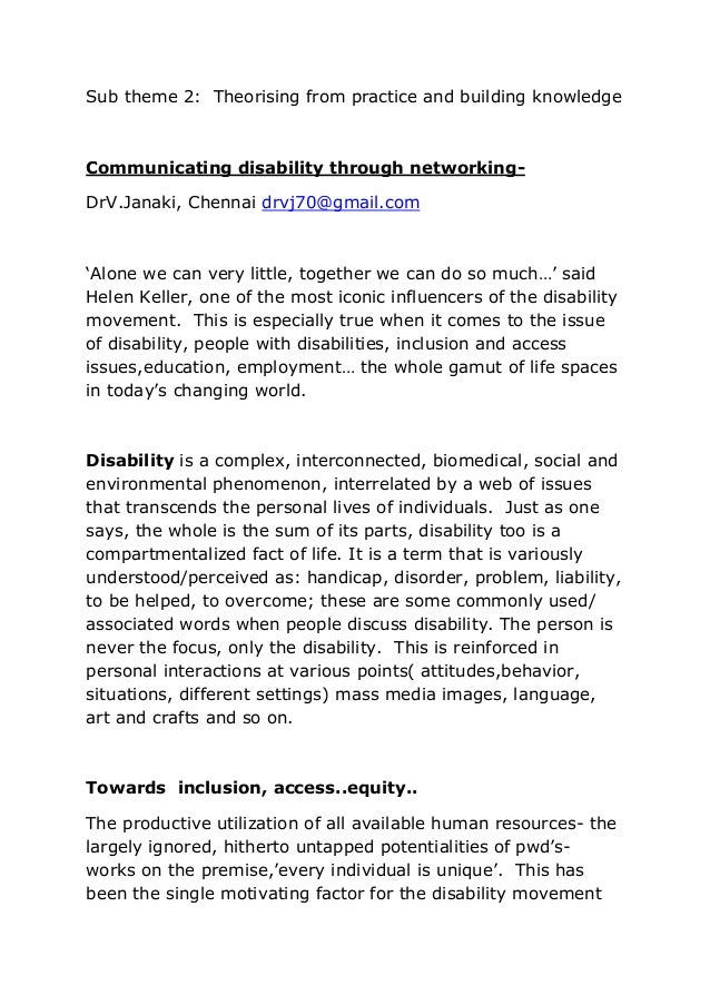 Sub theme 2: Theorising from practice and building knowledge Communicating disability through networking- DrV.Janaki, Chen...
