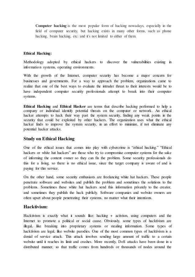 ethical hacking essay topics
