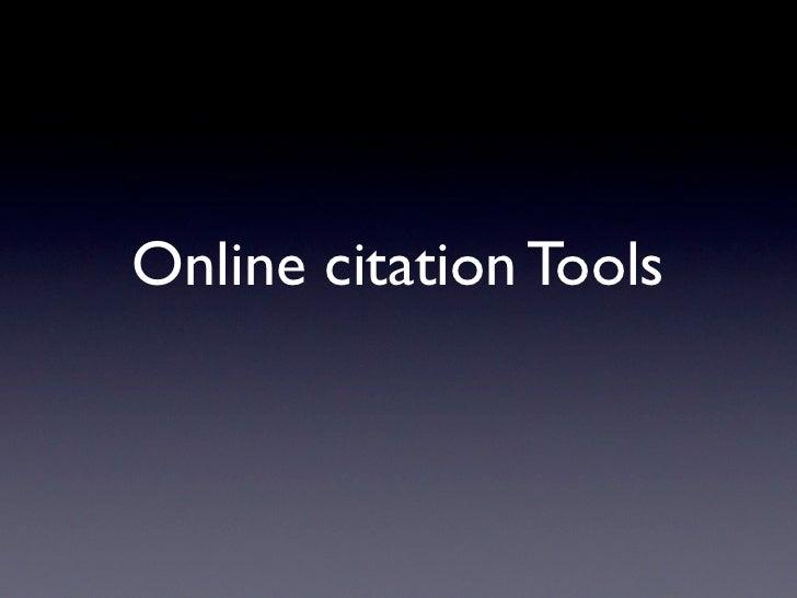 Online citation Tools