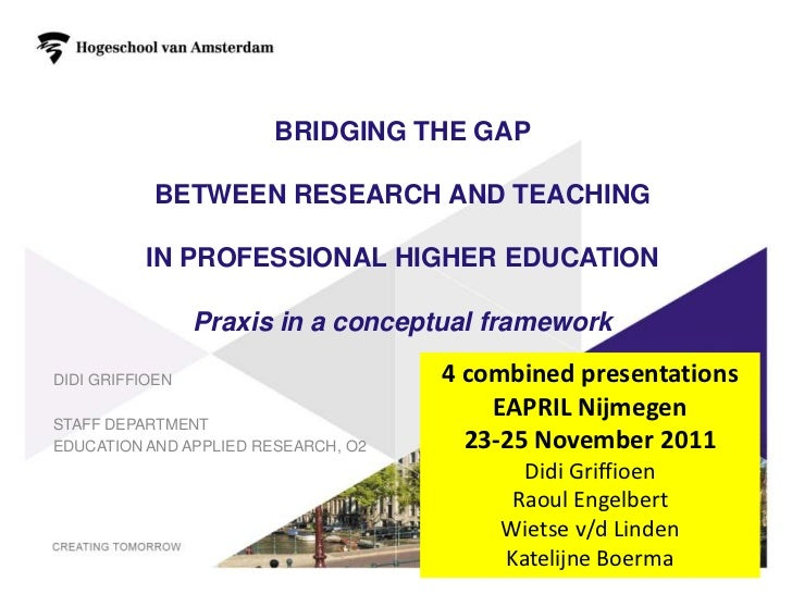 BRIDGING THE GAP           BETWEEN RESEARCH AND TEACHING          IN PROFESSIONAL HIGHER EDUCATION                 Praxis ...