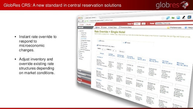 GlobRes CRS: A new standard in central reservation solutions   Instant rate override to  respond to  microeconomic  chang...
