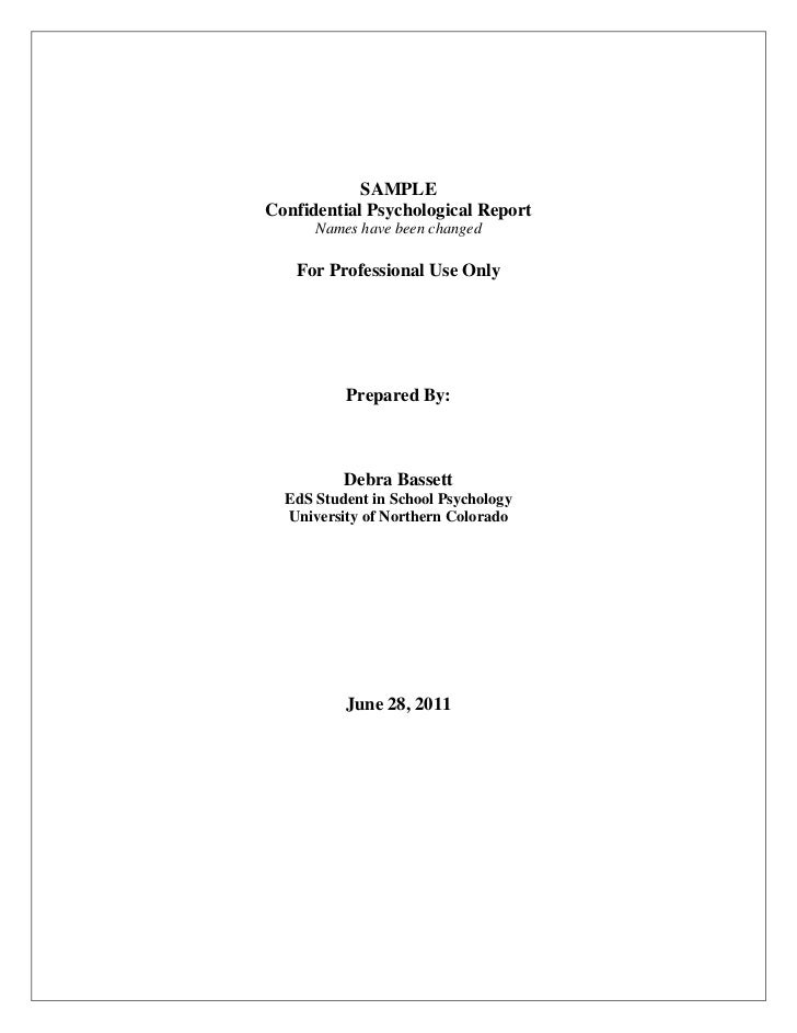 SAMPLEConfidential Psychological Report Names Have Been Changed For  Professional Use Only ...