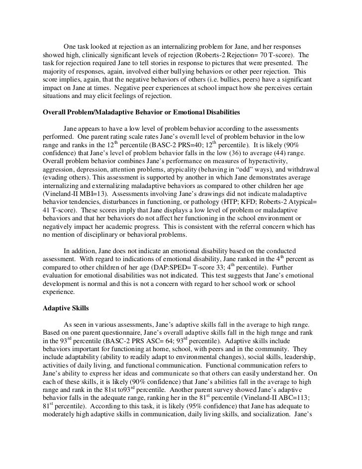 Full Psychological Report Sample