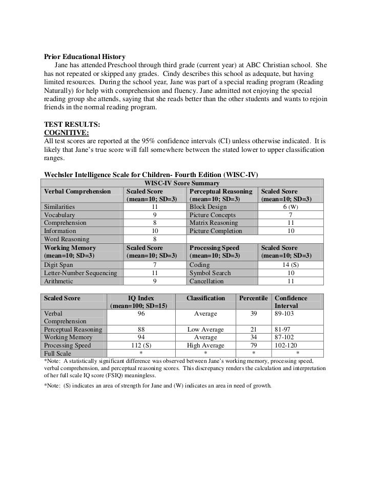 Full Psychological Report.Sample