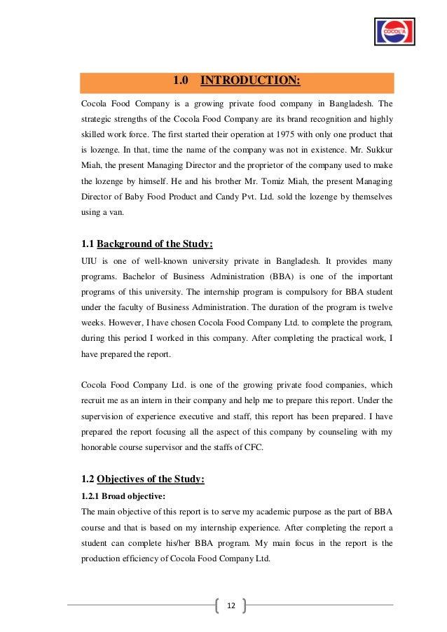 Internship Report Bba Students