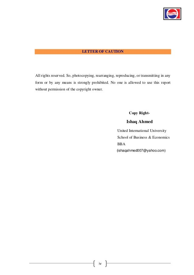 Permission Letter Format For Internship. LETTER  Internship Report BBA