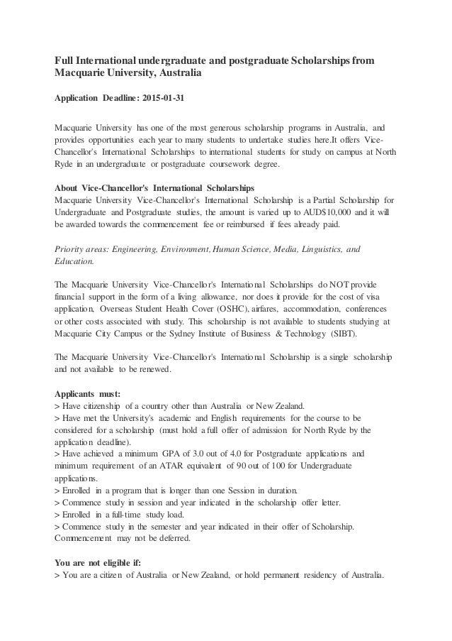 Full scholarship macquire university on