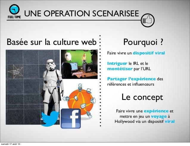 UNE OPERATION SCENARISEE Basée sur la culture web Faire vivre un dispositif viral Intriguer le IRL et le montétiser par l'...