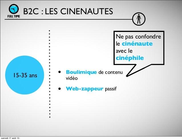 • Boulimique de contenu vidéo • Web-zappeur passif B2C : LES CINENAUTES 15-35 ans Ne pas confondre le cinénaute avec le ci...