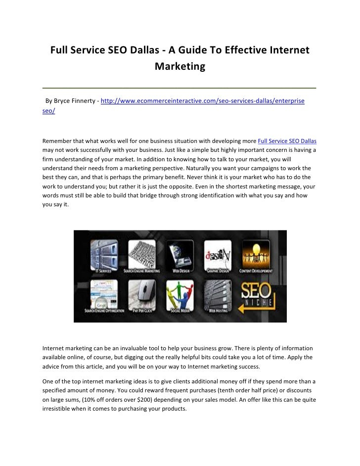 Full Service SEO Dallas - A Guide To Effective Internet                         Marketing_________________________________...