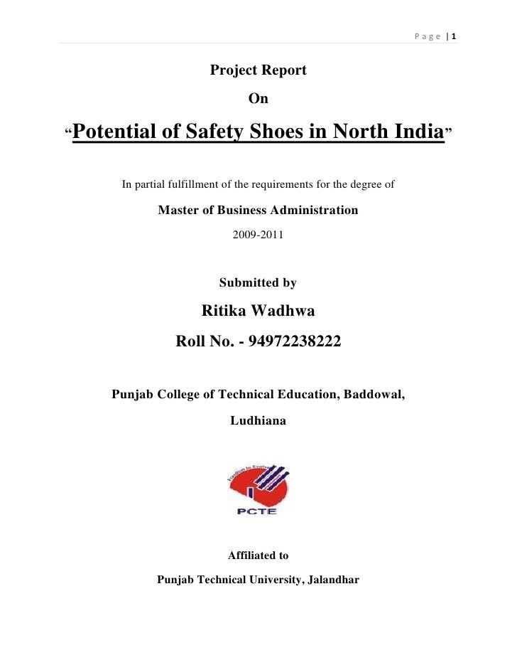 Full summer training report full summer training report project reportbr onbr potential of safety shoes yadclub Images