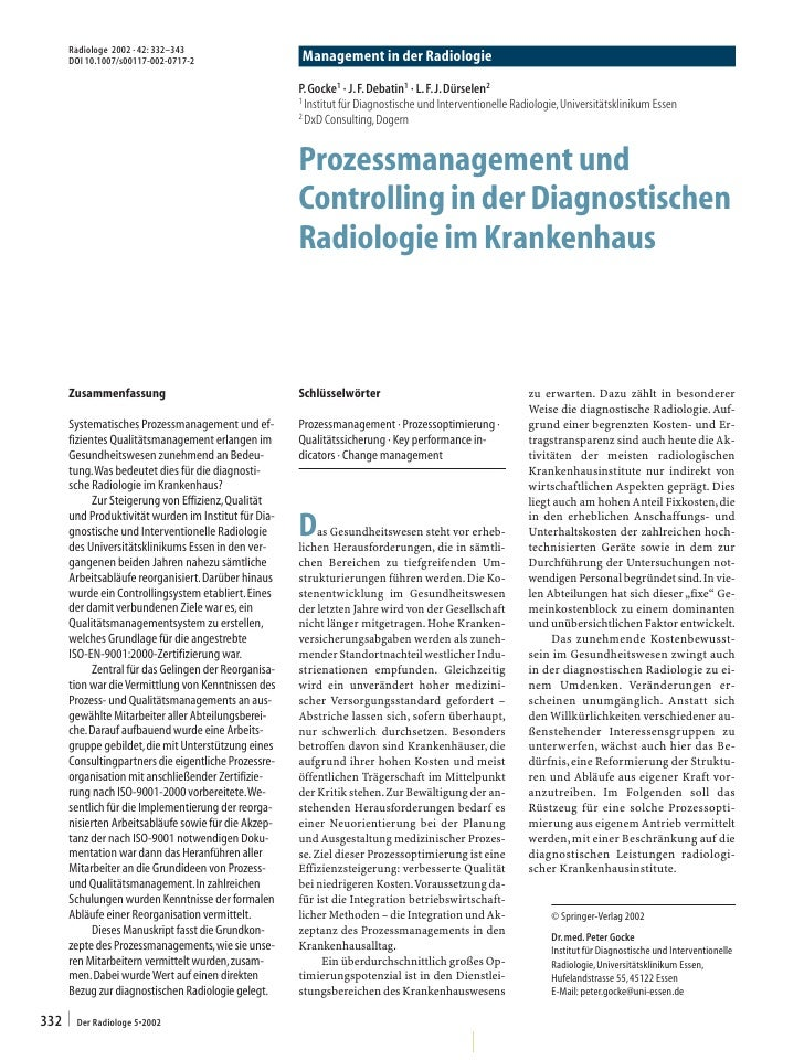 Radiologe 2002 · 42: 332–343                                                      Management in der Radiologie     DOI 10....