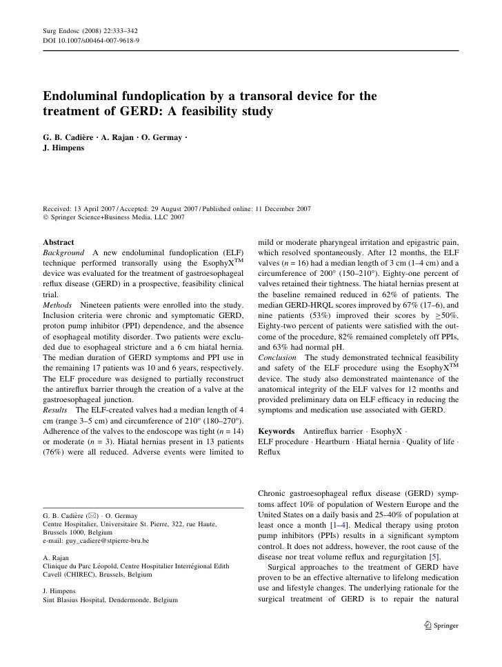 Surg Endosc (2008) 22:333–342 DOI 10.1007/s00464-007-9618-9     Endoluminal fundoplication by a transoral device for the t...