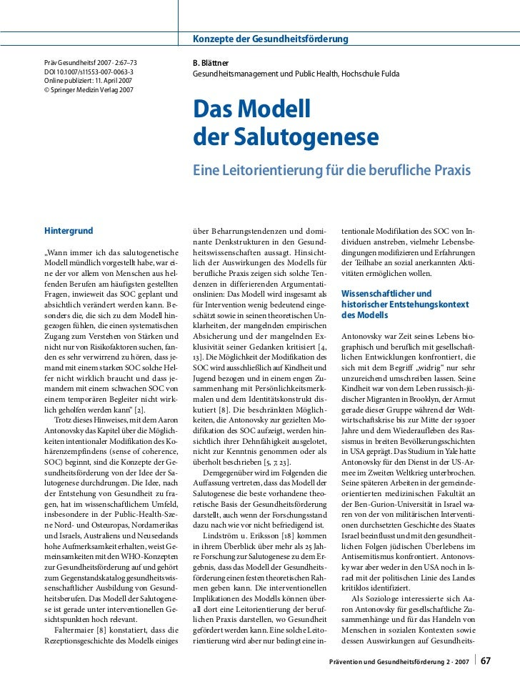 Konzepte der GesundheitsförderungPräv Gesundheitsf 2007 · 2:67–73            B. BlättnerDOI 10.1007/s11553-007-0063-3     ...