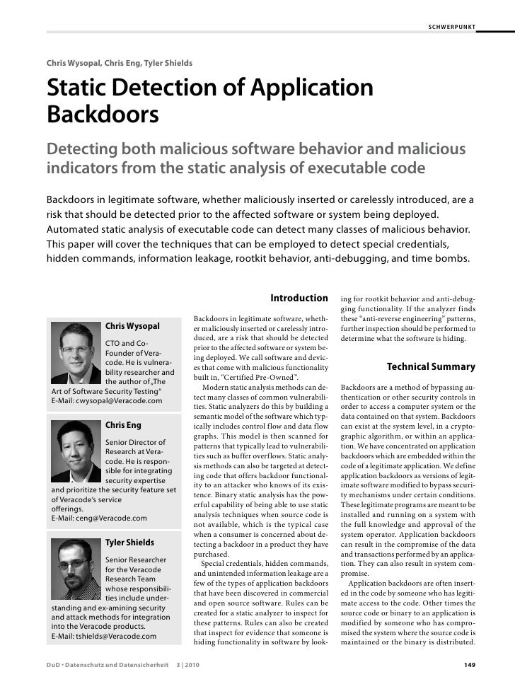 SCHWERPUNKTChris Wysopal, Chris Eng, Tyler ShieldsStatic	Detection	of	Application	BackdoorsDetecting	both	malicious	softwa...