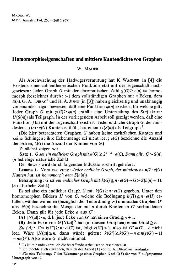 MADER, W. Math. Annalen 174, 265--268 (1967)     Homomorphieeigenschaften und mittlere Kantendichte von Graphen           ...