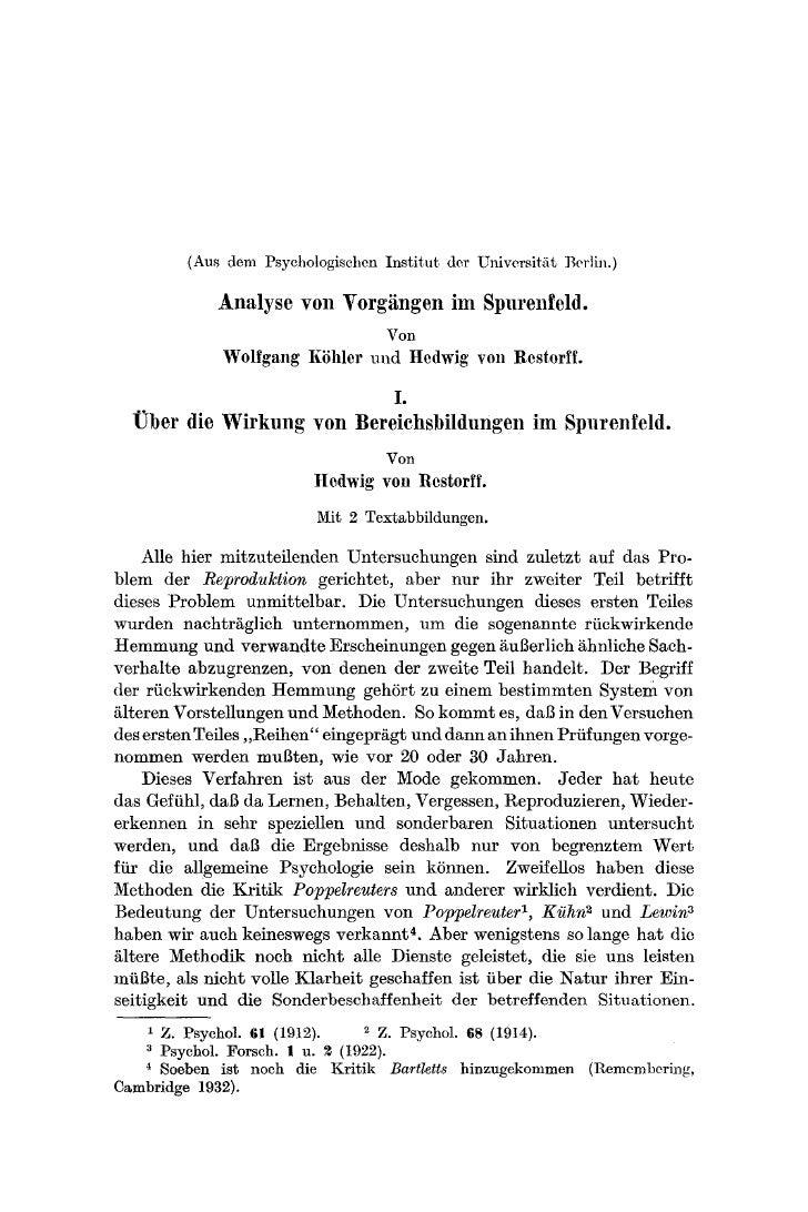(Aus dem Psychologischen Institut der Universitat Berlin.)              Analyse yon Vorgiingen im Spurenfeld.             ...