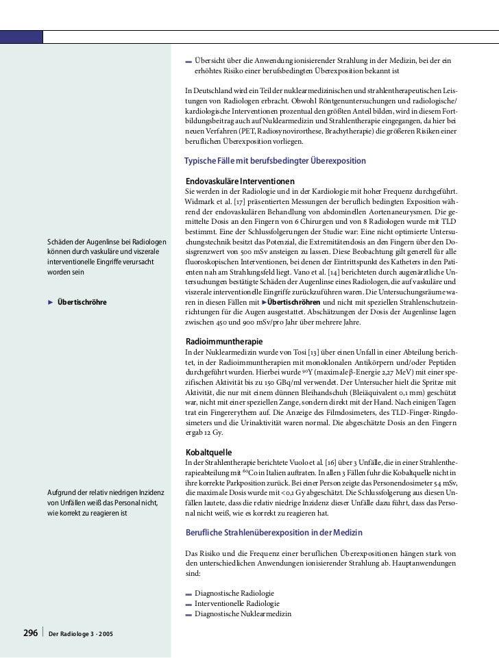 F Übersicht über die Anwendung ionisierender Strahlung in der Medizin, bei der ein                                        ...