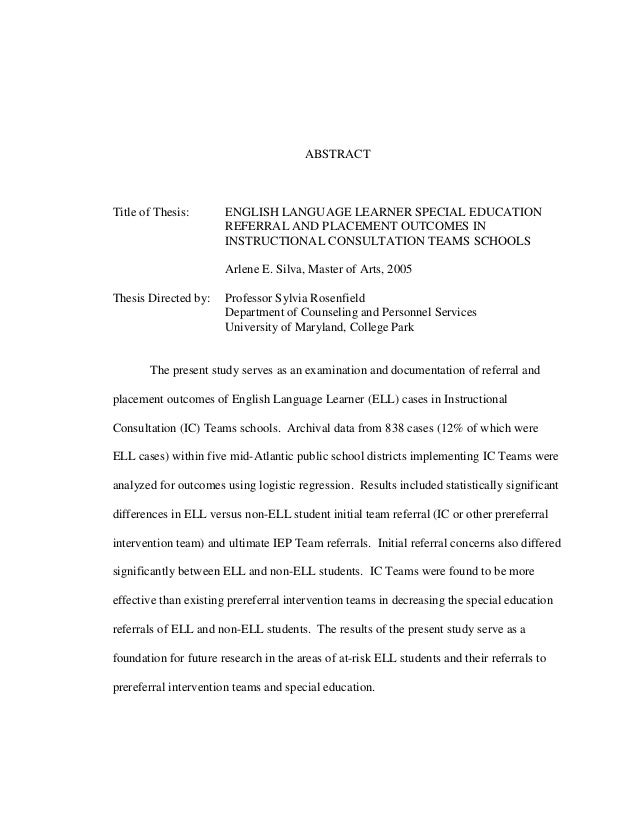 ABSTRACT Title of Thesis: ENGLISH LANGUAGE LEARNER SPECIAL EDUCATION REFERRAL AND PLACEMENT OUTCOMES IN INSTRUCTIONAL CONS...