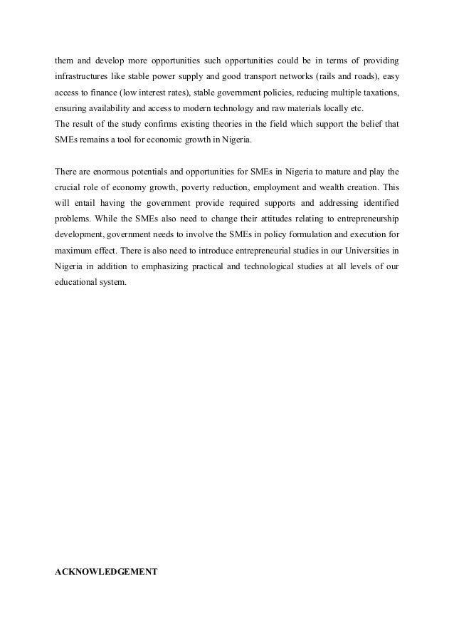 thesis on smes in nigeria