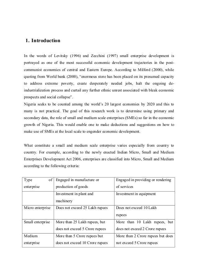 medium-sized and small enterprises financing thesis Access to finance: small and medium enterprises 21 small and medium sized enterprises this thesis aims to examine smes access to finance in the european.