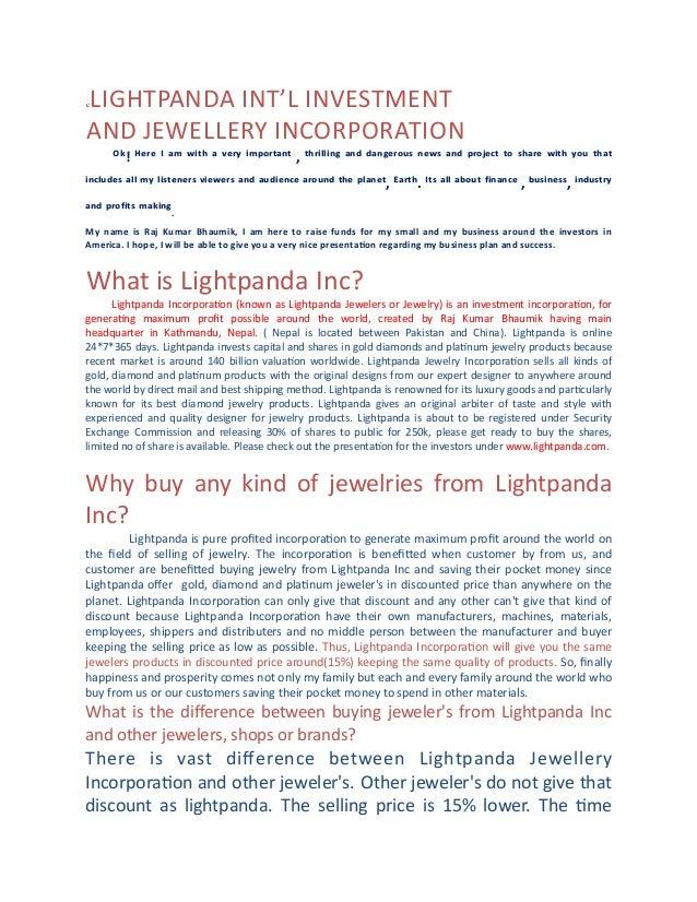 """LIGHTPANDA  I NT'L  I NVESTMENT AND  J EWELLERY  I NCORPORATION  c                """"#!  %&'&  (  )*..."""