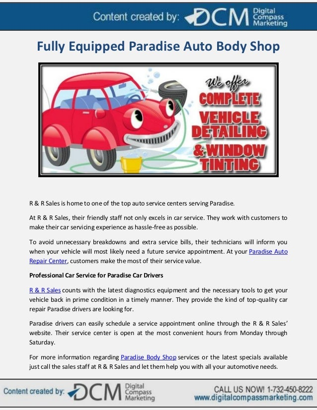 Fully Equipped Paradise Auto Body Shop