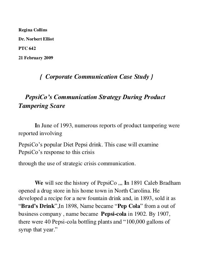 pepsico syringe case From the pepsi syringe case to the exxon valdez, we see where pr practitioners went wrong or got it right clear definitions of the process and how to apply the knowledge (this is a review of the kindle e-reader version.