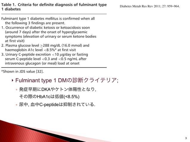  Fulminant type 1 DMの診断クライテリア; ◦ 発症早期にDKAやケトン体陽性となり, その際のHbA1cは低値(<8.5%) ◦ 尿中, 血中C-peptideは抑制されている. 3 Table 1. Criteria f...