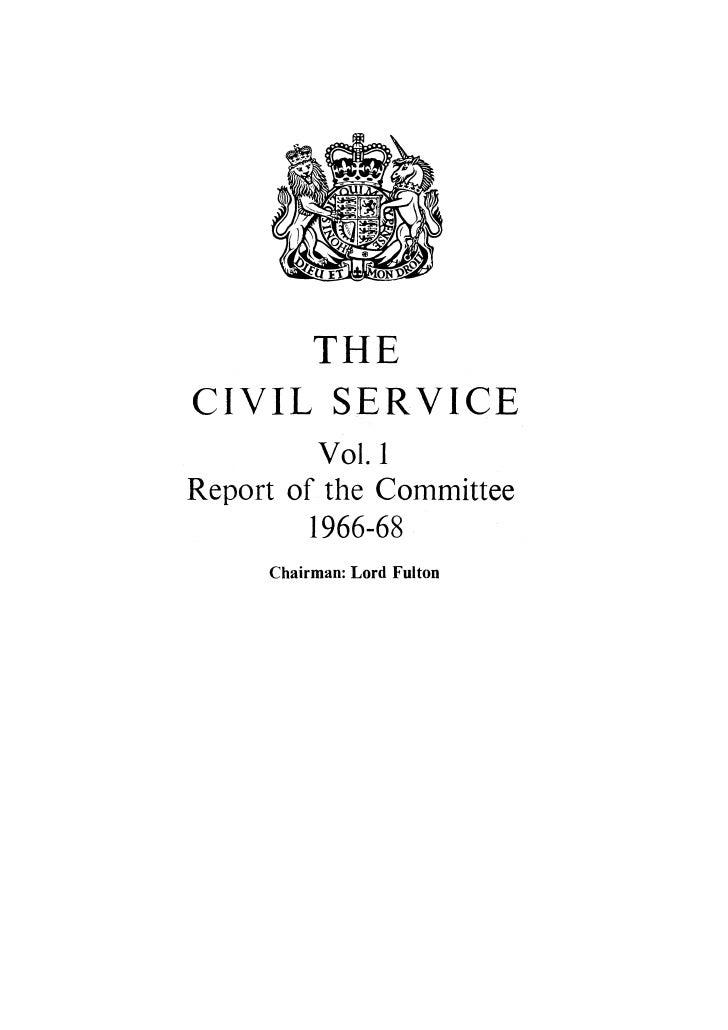 Fulton Report The Civil Service Cmnd 3638 No Annexes