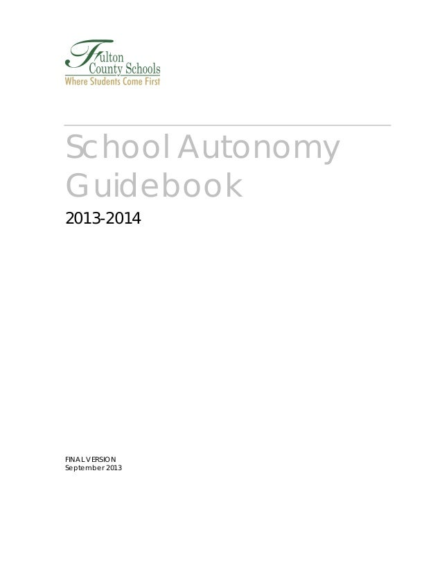 School Autonomy Guidebook 2013-2014  FINAL VERSION September 2013