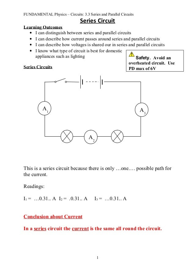 Fun 3.3 series and parallel circuits - notes