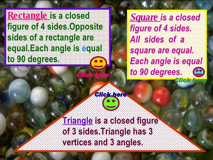 Rectangle   is a closed figure of 4 sides.Opposite sides of a rectangle are equal.Each angle is  e qual to 90 degrees. Squ...