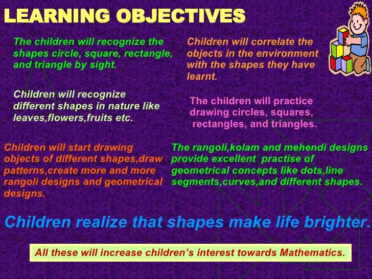 LEARNING OBJECTIVES <ul><ul><ul><ul><ul><li>The children will recognize the shapes circle, square, rectangle, and triangle...