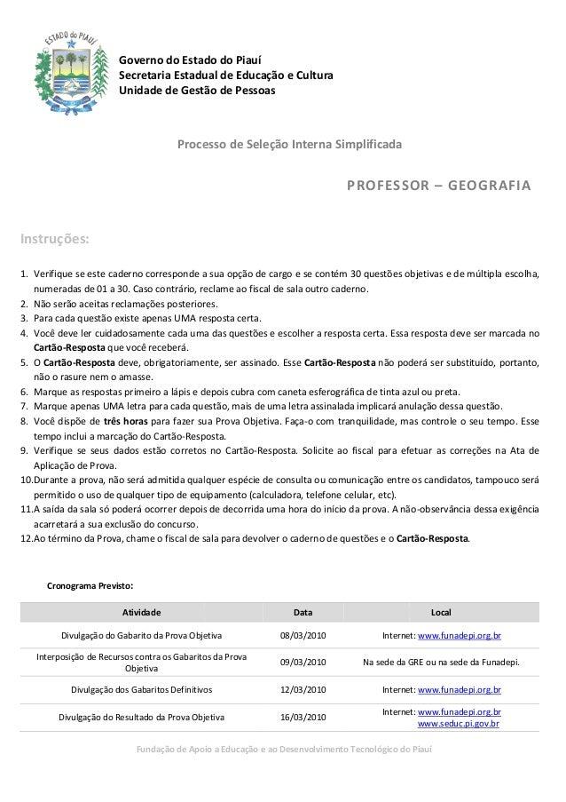 Governo do Estado do Piauí                                   o                        Secretaria Estadual de Educação e Cu...