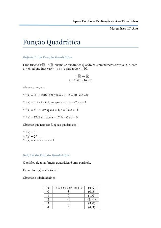 Apoio Escolar – Explicações – Ana Tapadinhas                                                                 Matemática 10...