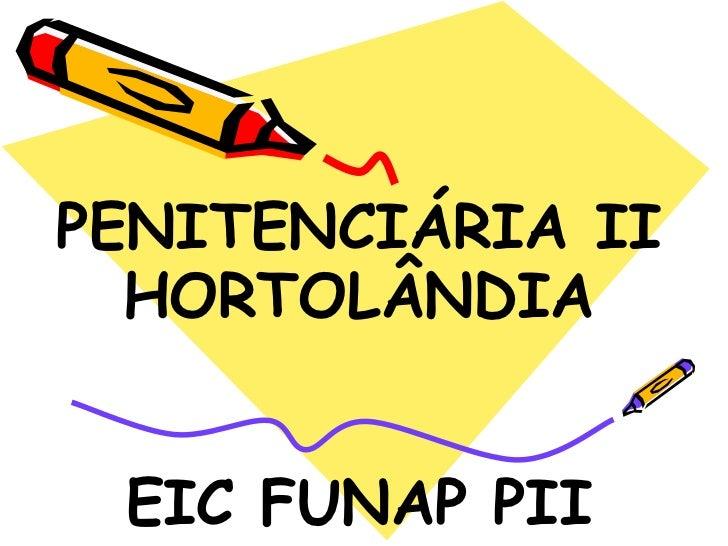PENITENCIÁRIA II  HORTOLÂNDIA EIC FUNAP PII
