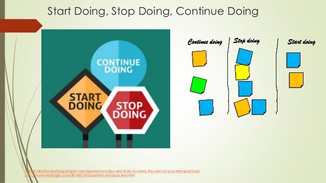 Start Doing, Stop Doing, Continue Doing http://intland.com/blog/project-management-en/tips-and-tricks-to-make-the-most-of-...