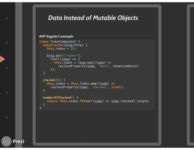 Data Instead of Mutable Objects  WIP Angular2 example  class TodosComponent { constructorihttpzHttp) { thís. todos =  (]; ...