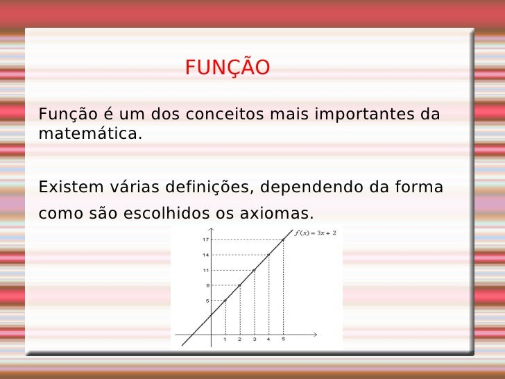 Função é um dos conceitos mais importantes da matemática.  Existem várias definições, dependendo da forma  como são escolh...