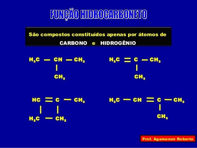 São compostos constituídos apenas por átomos de             CARBONO   e   HIDROGÊNIOH 3C    CH      CH 3         H 2C   C ...