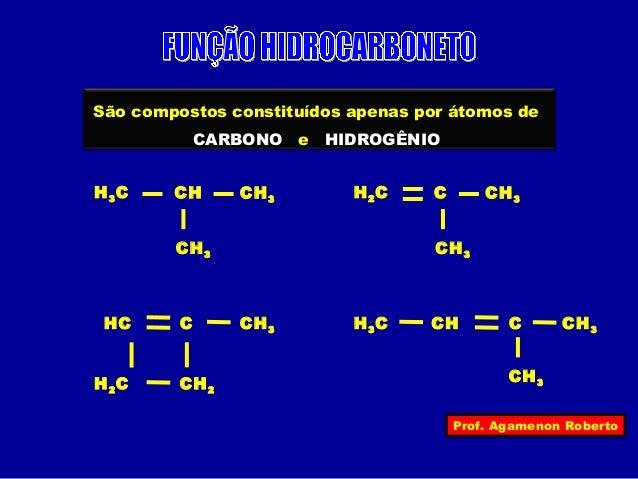São compostos constituídos apenas por átomos de  CH H2C CH3  HC H3C CH C CH3  Prof. Agamenon Roberto  CARBONO e HIDROGÊNIO...